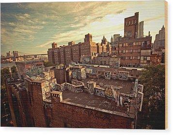 Chinatown Rooftop Graffiti And The Brooklyn Bridge - New York City Wood Print by Vivienne Gucwa