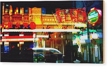 Wood Print featuring the photograph Chinatown Window Reflections 2 by Marianne Dow