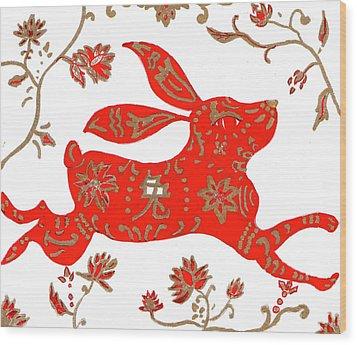 Chinese Astrology Rabbit Wood Print by Barbara Giordano