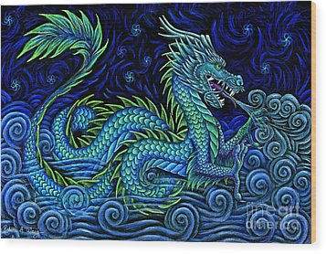 Chinese Azure Dragon Wood Print by Rebecca Wang