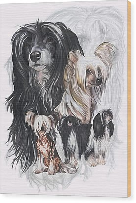 Chinese Crested And Powderpuff W/ghost Wood Print by Barbara Keith