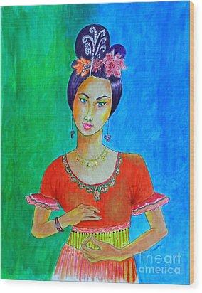 Chinese Dancer -- The Original -- Portrait Of Asian Woman Wood Print