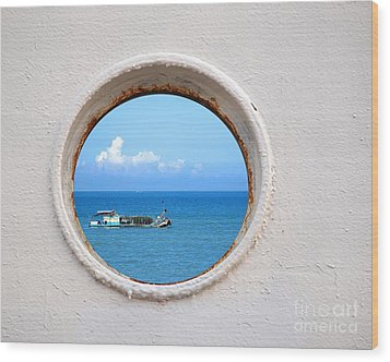 Chinese Fishing Boat Seen Through A Porthole Wood Print by Yali Shi