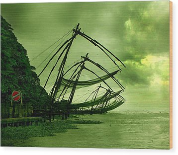 Chinese Fishing Net Wood Print by Farah Faizal