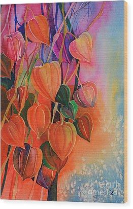 Chinese Lanterns Wood Print by Zaira Dzhaubaeva