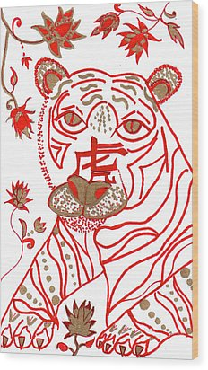 Wood Print featuring the drawing Chinese New Year Astrology Tiger by Barbara Giordano