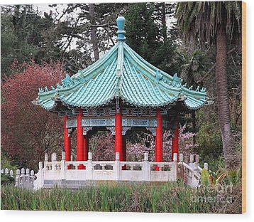 Chinese Pavilion Wood Print by Wingsdomain Art and Photography