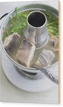 Wood Print featuring the photograph Chinese Silver Pomfret Soup by Atiketta Sangasaeng