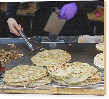 Wood Print featuring the photograph Chinese Street Vendor Cooks Onion Pancakes by Yali Shi