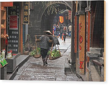 Chinese Woman Carrying Vegetables Wood Print