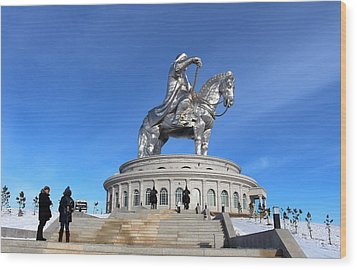 Chinggis Khan Statue/tsagaan Sar Wood Print by Diane Height