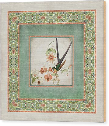 Chinoiserie Vintage Hummingbirds N Flowers 3 Wood Print