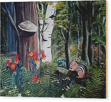 Chipmunk On A Log Wood Print by Renate Nadi Wesley