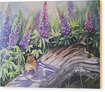 Chipmunk On Log With Lupine Wood Print by Patricia Pushaw