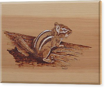 Wood Print featuring the pyrography Chipmunk by Ron Haist
