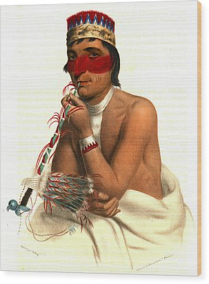Wood Print featuring the photograph Chippeway Chief 1836 by Padre Art