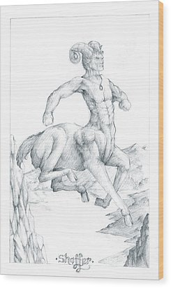 Wood Print featuring the drawing Chiron The Centaur by Curtiss Shaffer
