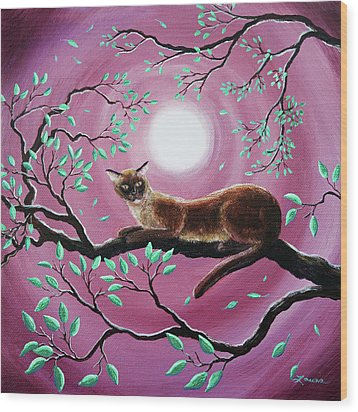 Chocolate Burmese Cat In Dancing Leaves Wood Print by Laura Iverson