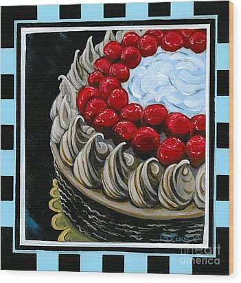 Chocolate Cake With A Cherry On Top Wood Print by Gail Finn