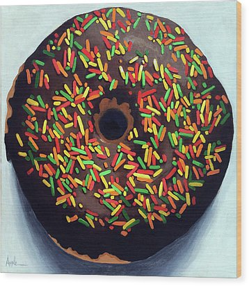Wood Print featuring the painting Chocolate Donut And Sprinkles Large Painting by Linda Apple