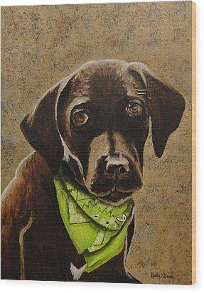 Chocolate Lab Wood Print by Betty-Anne McDonald