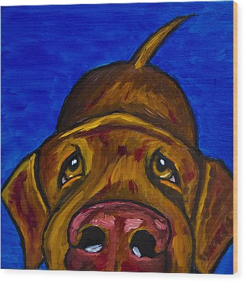 Chocolate Lab Nose Wood Print by Roger Wedegis