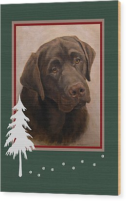 Chocolate Labrador Portrait Christmas Wood Print