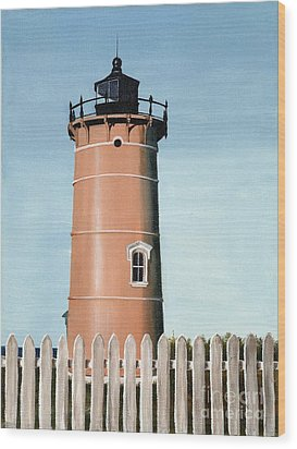 Chocolate Lighthouse Wood Print by Mary Rogers