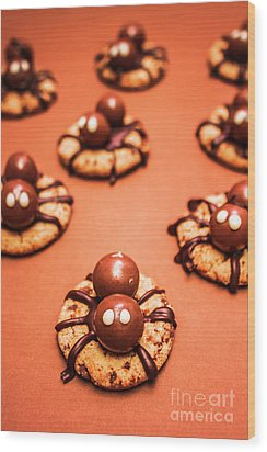 Chocolate Peanut Butter Spider Cookies Wood Print