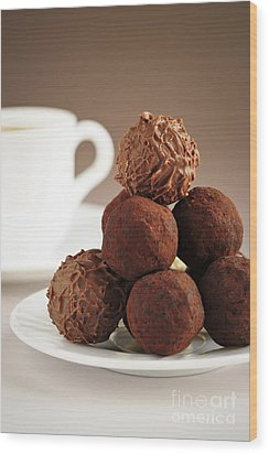 Chocolate Truffles And Coffee Wood Print by Elena Elisseeva