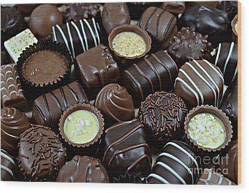 Wood Print featuring the photograph Chocolates by Vivian Krug Cotton
