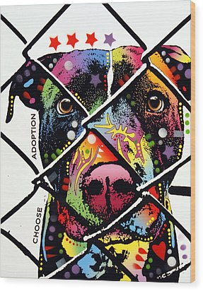Choose Adoption Pit Bull Wood Print by Dean Russo