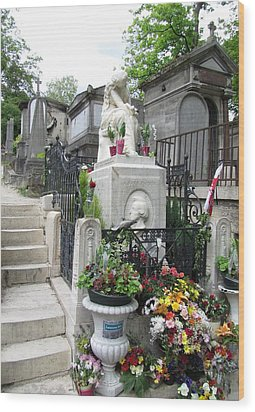 Chopin Grave Paris Wood Print by Keith Stokes
