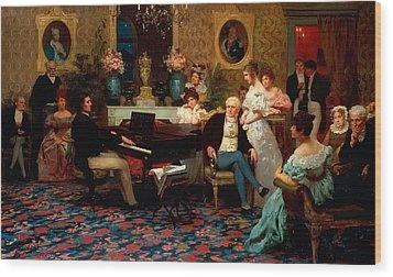 Chopin Playing The Piano In Prince Radziwills Salon Wood Print by Hendrik Siemiradzki