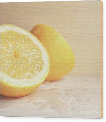 Chopped Lemon Wood Print