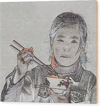 Chopsticks And Rice Wood Print by Jim Justinick
