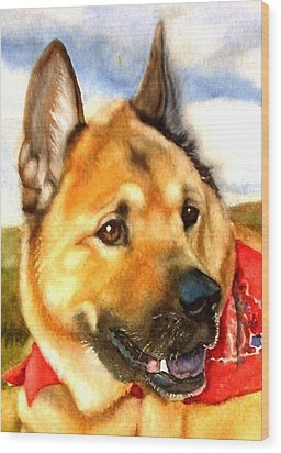 Chow Shepherd Mix Wood Print by Marilyn Jacobson