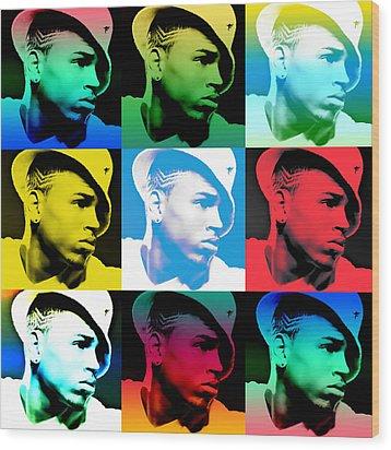 Chris Brown Warhol By Gbs Wood Print by Anibal Diaz