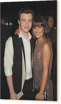 Chris Colfer, Lea Michelle At Arrivals Wood Print by Everett