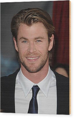 Chris Hemsworth At Arrivals For Thor Wood Print by Everett