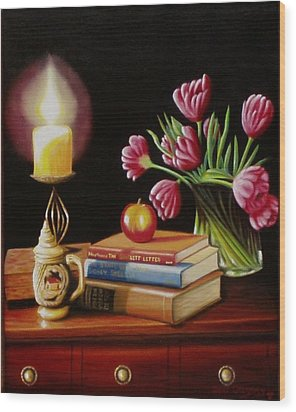 Wood Print featuring the painting Chrisie's Table by Gene Gregory