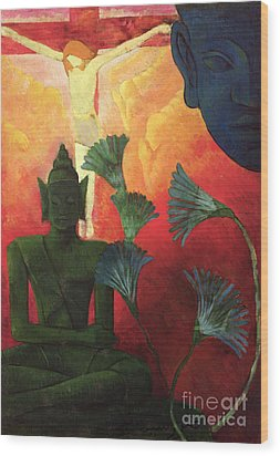 Christ And Buddha Wood Print by Paul Ranson