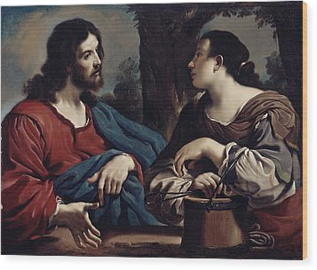 Christ And The Woman Of Samaria Wood Print by Giovanni Francesco Barbieri Guercino