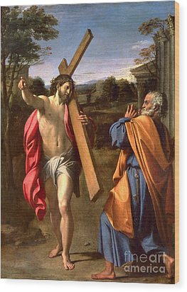 Christ Appearing To St. Peter On The Appian Way Wood Print by Annibale Carracci