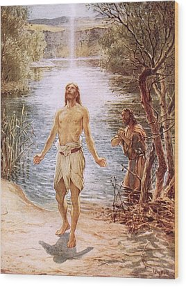 Christ Baptised By John The Baptist Wood Print by William Brassey Hole