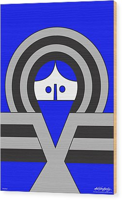 Christ Blue Wood Print by Asbjorn Lonvig