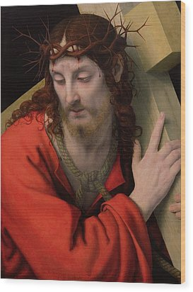 Christ Carrying The Cross Wood Print by Andrea Solario