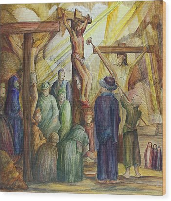 Christ Crucified Wood Print