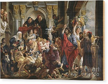 Christ Driving The Merchants From The Temple Wood Print by Jacob Jordaens