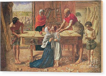 Christ In The House Of His Parents Wood Print by JE Millais and Rebecca Solomon